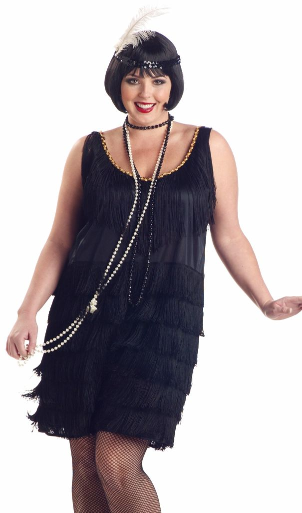 1920 S Gatsby Flapper Black Plus Size Fancy Dress Costume