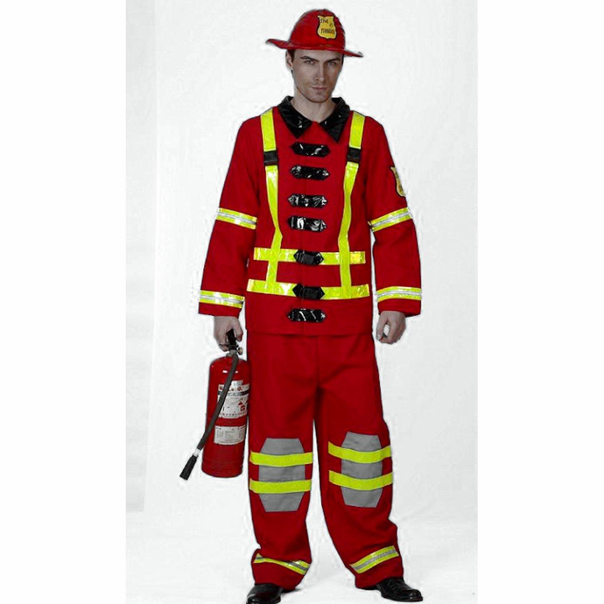 Men S Fireman Fancy Dress Costume With Hat One Size Fits