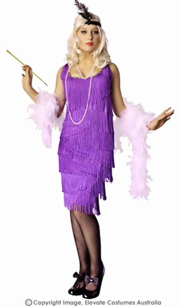 Roaring 20s Purple Flapper Plus Size Fancy Dress Womens Costume Xxl