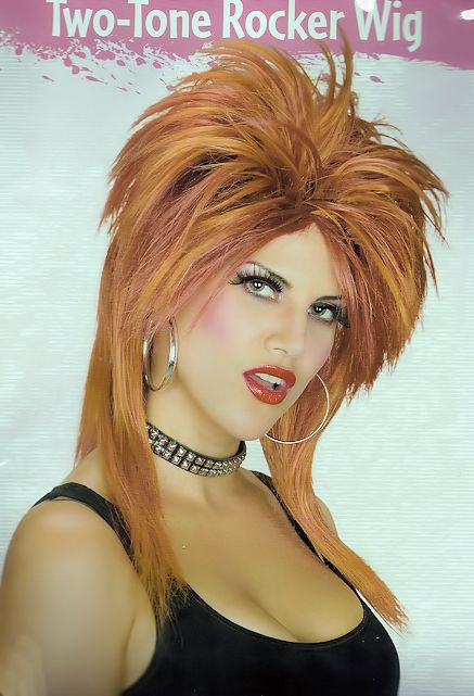 ... Dress Party Costume Wig 80's Tina Turner hairstyle Two Tone Auburn
