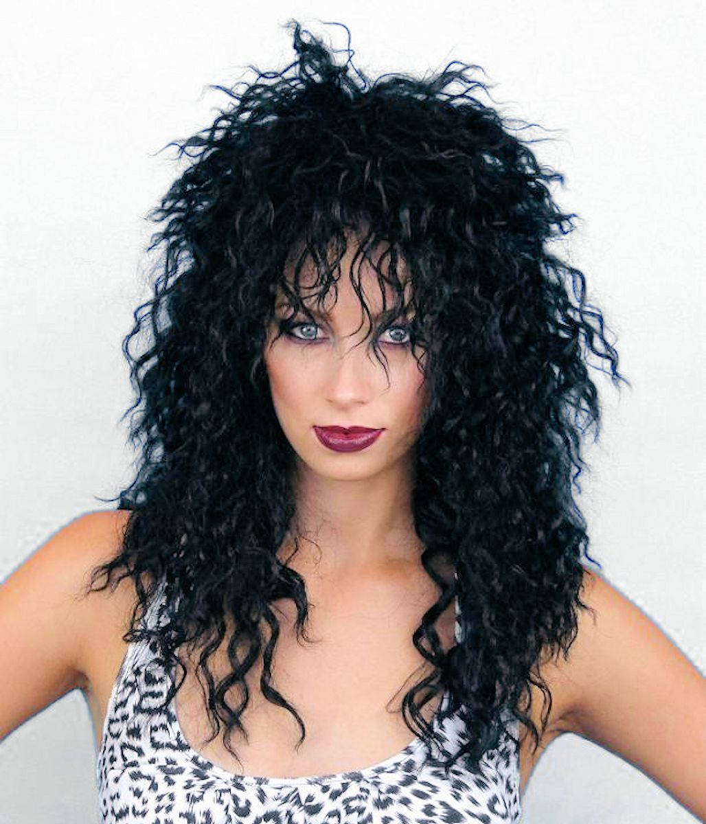 80s Rocker Cher Shaggy Crimped Black Wig Women S Fancy