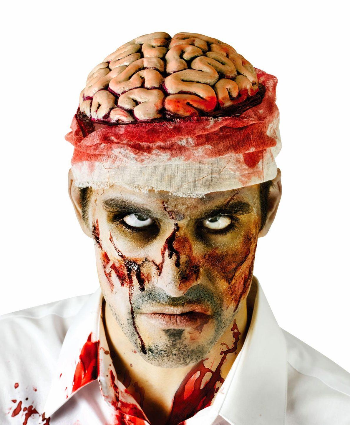 Bloody Brain Zombie Halloween Headpiece Monster Fancy Dress Costume Free Post
