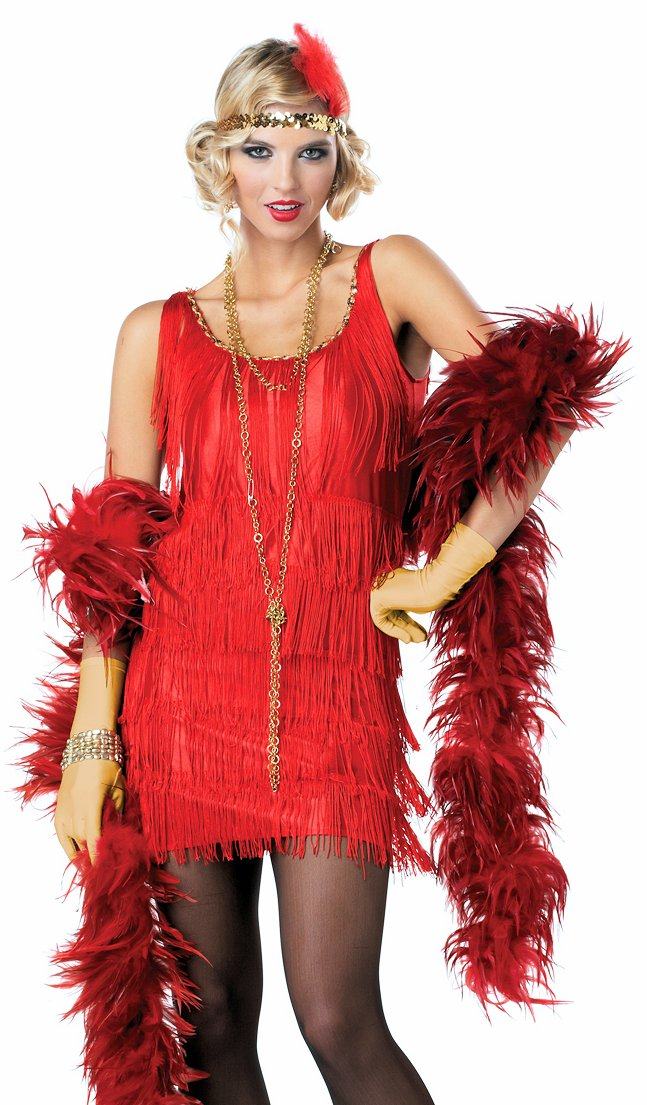 1920 S Gatsby Flapper Dress Red Fancy Costume Sequin