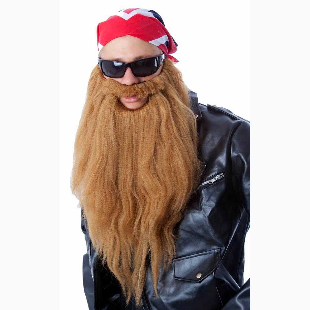 zz top biker long beard moustache set fancy dress costume light brown ebay. Black Bedroom Furniture Sets. Home Design Ideas